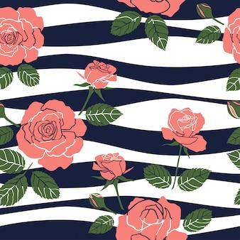 波状の背景に甘いバラのシームレスパターン