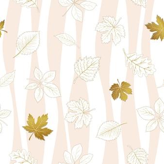 秋の葉白のシームレスパターン