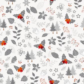 冬の休日のシームレスなパターン、クリスマス