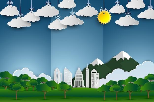 建物と自然の風景