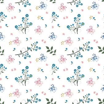 Цветочный бесшовный узор на синем и розовом настроении