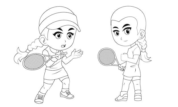 Коллекция мультяшной девочки, играющей в теннисный мяч