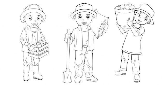 塗り絵に使用される漫画農家のコレクション