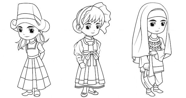 Коллекция мультяшной девочки в голландском швейцарском и турецком костюме для раскраски