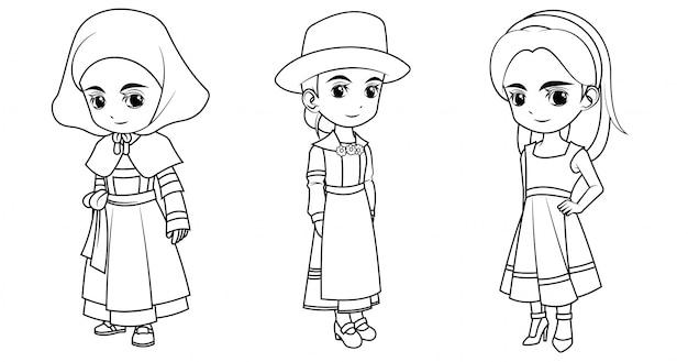 Коллекция мультяшной девочки в французском немецком и греческом костюме для раскраски