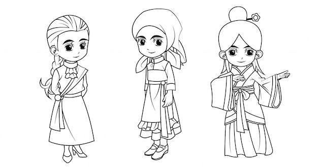 Коллекция мультяшной девушки в шотландском русском и китайском костюме для раскраски
