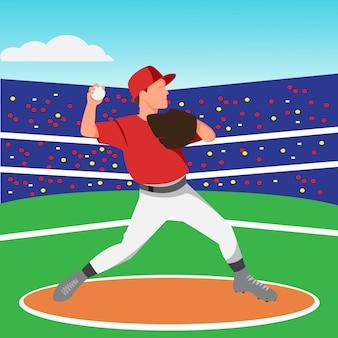 Плоский дизайн бейсбольного кувшина