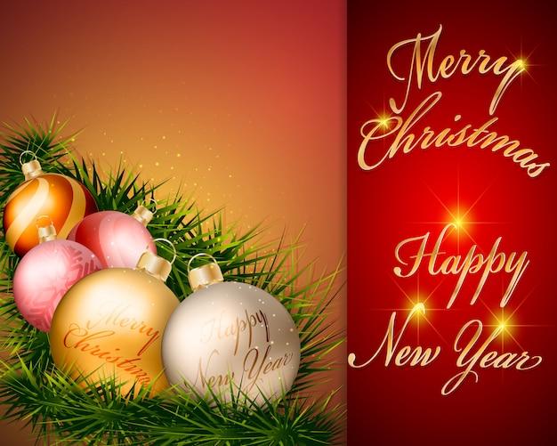 赤い背景のデザインのクリスマスボールの装飾