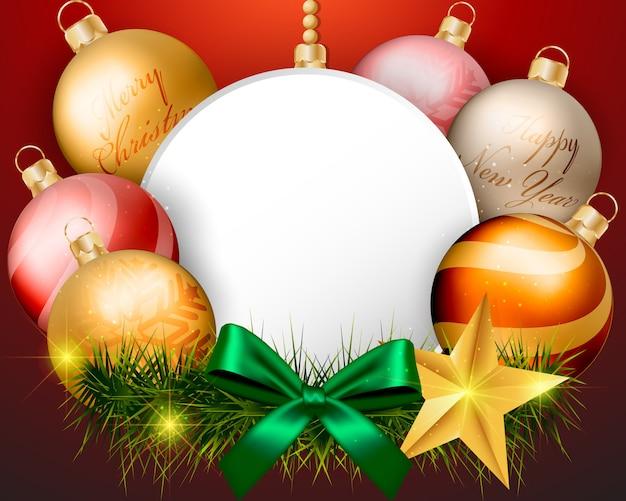 背景に空のスクリーンのクリスマスボールの装飾
