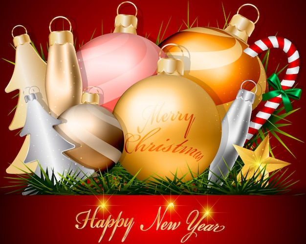 クリスマスの金のボールの装飾および付属品