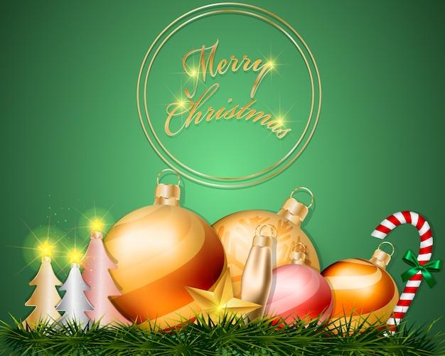 ゴールドラウンドクリスマスの挨拶と芝生の装飾