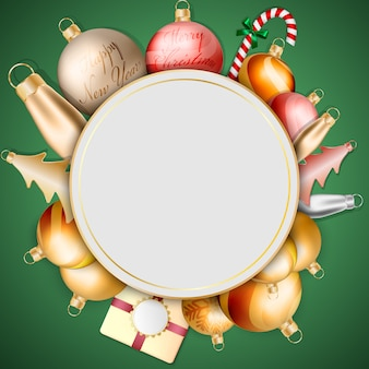 ゴールドラウンドクリスマスグリーティングカードと装飾