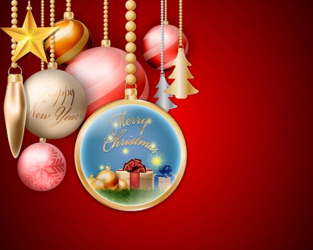 金色のクリスマス光沢のある飾りのボール。