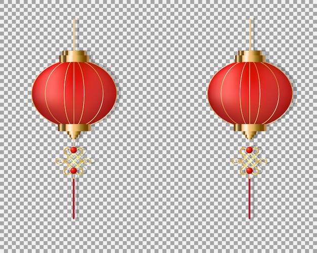 赤い中国の灯籠が吊るす