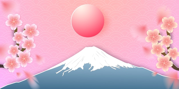 Японский пейзаж с горой фудзи и вишневым цветом
