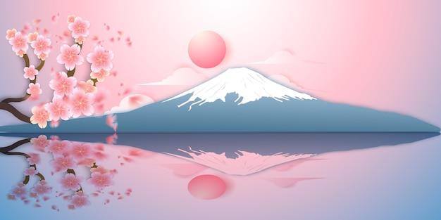 Японский пейзаж, гора фудзи, сакура падает