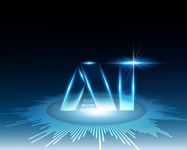 人工知能とサイバーラインのコンセプト。