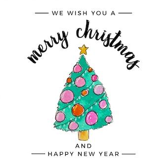 水彩のクリスマスツリーの挨拶