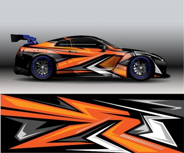 スポーツモダンなオレンジ色の抽象的なデカールビニール車の背景 -