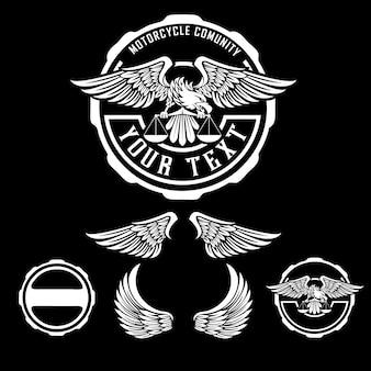 オートバイコミュニティ動物ワシのロゴのコンセプト
