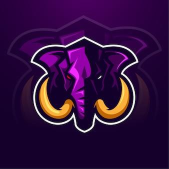 Талисман слон-мамонт дизайн логотипа животных
