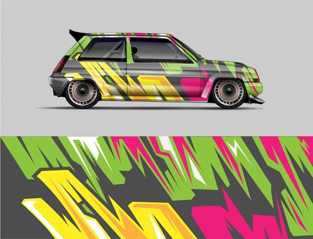 レーシングレトロ車ラップデカールデザインコンセプト。ラップ車、レースカー、レースのカラーリングのための野生の抽象的なストライプの背景。