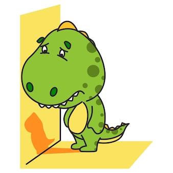 かわいい緑の恐竜の悲しい表現のイラスト。