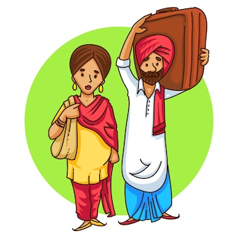 旅行パンジャブカップルの漫画イラスト。