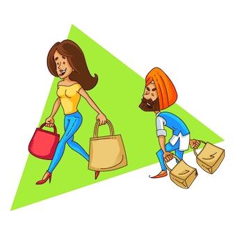 パンジャブイワシカップルショッピングのイラスト。