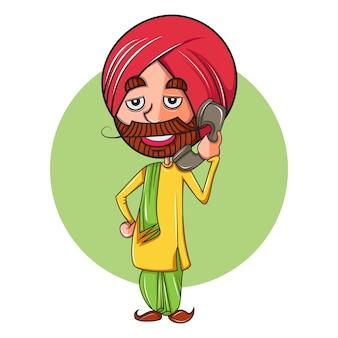 電話で話しているパンジャブ人の漫画イラスト。