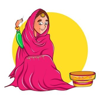 座っていると布の上のデザインを作る女性のイラスト。
