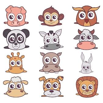 さまざまな動物の漫画イラスト