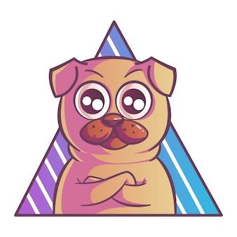 パグ犬のイラスト。