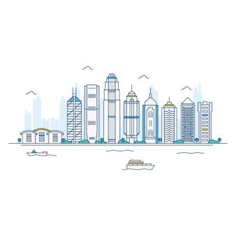 香港のスカイラインのイラスト。