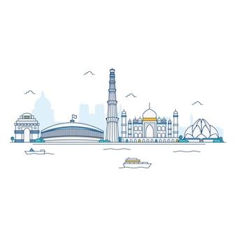 インドのスカイラインのイラスト。