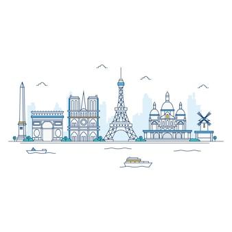 パリのスカイラインのイラスト。