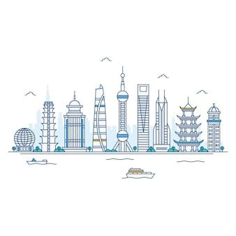 上海のスカイラインのイラスト。