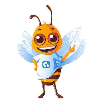 Иллюстрация шаржа вектора милой пчелы меда.