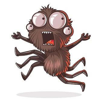 Иллюстрация шаржа милого паука.