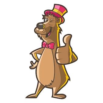 帽子をかぶっていると親指を現してかわいい犬のイラスト。