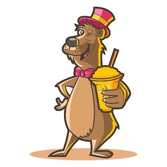 帽子をかぶっているとジュースを保持しているかわいい犬のイラスト。