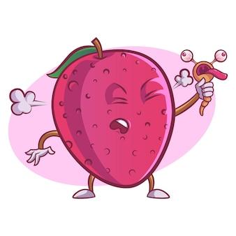 かわいいイチゴのベクトル漫画イラスト。