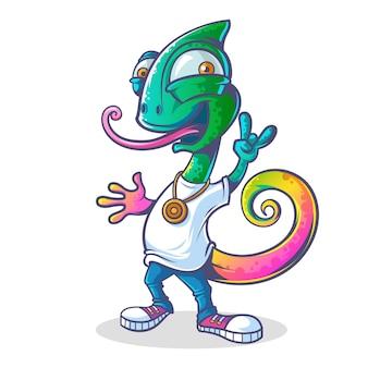 Векторные иллюстрации мультфильм милый хамелеон.