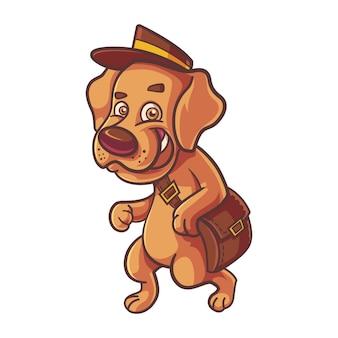 バッグと帽子をかぶっているかわいい犬の漫画イラスト。