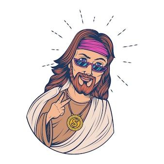 Векторные иллюстрации шаржа иисуса.