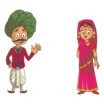 ラジャスタンのカップルの漫画イラスト。