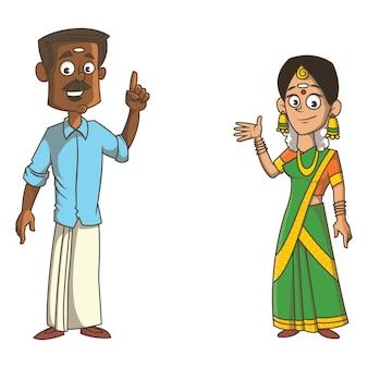 ケララ州のカップルの漫画イラスト。