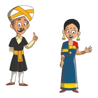 カルナータカ州のカップルの漫画イラスト。
