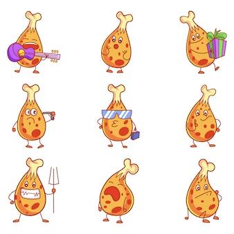 かわいい鶏セットの漫画イラスト。