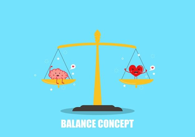 脳と心臓の漫画ベクトル